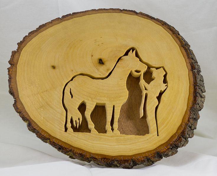 Scroll Art - Live Edge - Cowgirl and Horse