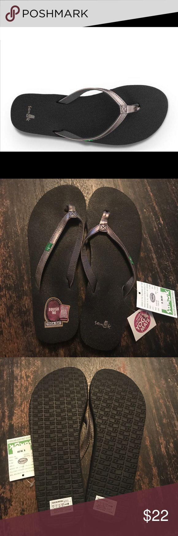 Women's Sanuk Yoga Joy Metallic (pewter) Metallic synthetic leather strap with soft jersey lining and metallic synthetic covered nylon webbing toe post. Thin profile with a footbed made from real yoga mat and added arch cookie. Happy U sponge rubber outsole. Sanuk Shoes Sandals
