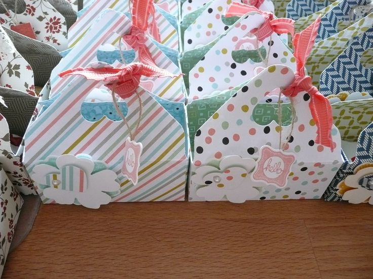 Pretty trims and zippy papers make these little boxes made with Envelope Punch board especially cute