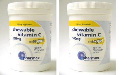 Pharmax-Chewable-Vitamin-C-500-mg-90-Tablets-2PACK-VM46-90-Exp-2-19-SD2