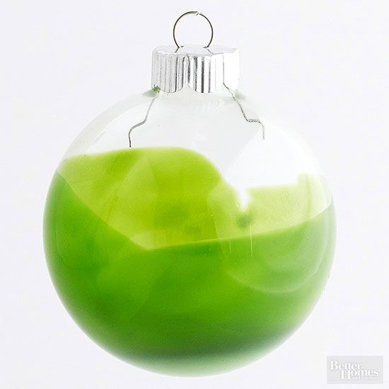 Your color, your DIY ornament set. Drip a tablespoon of gallery glass window color (available at crafts stores) and a few drops of water inside a clear glass ornament, and turn the ball so the paint coats the sides for a watercolor effect./