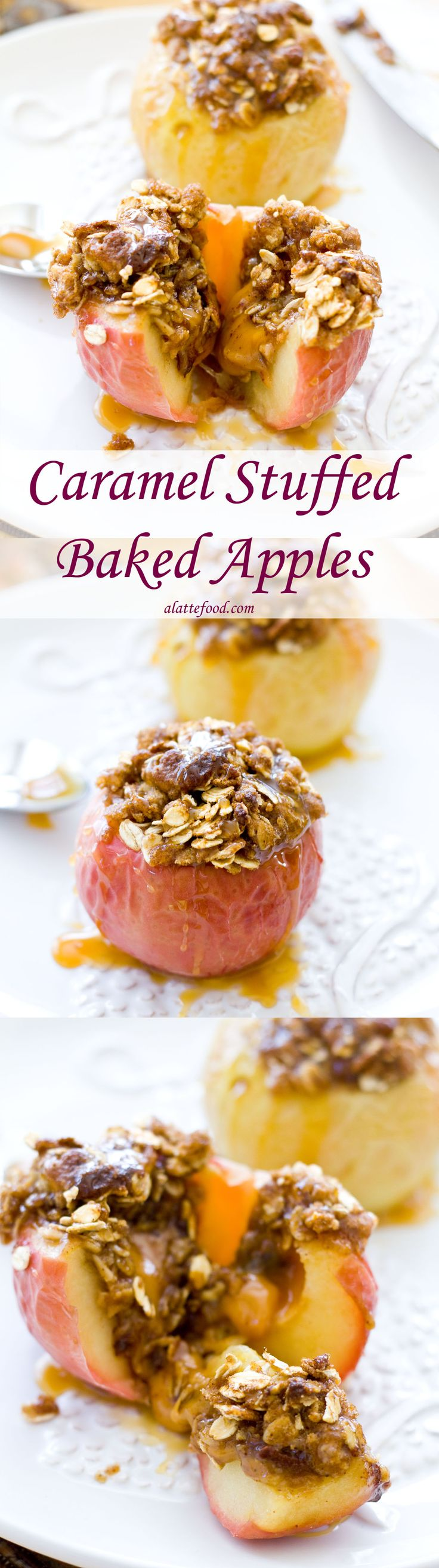 Baked apples stuffed with gooey caramel and topped with a brown sugar and oat crumble! | www.alattefood.com/