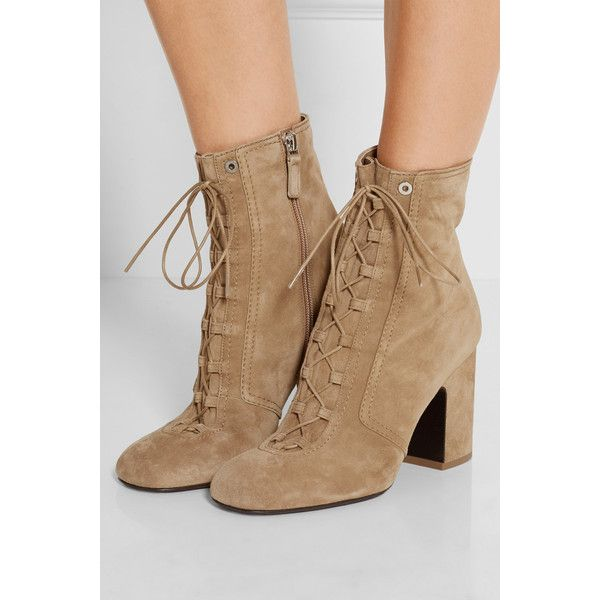 Laurence Dacade Milly lace-up suede ankle boots ($925) ❤ liked on Polyvore