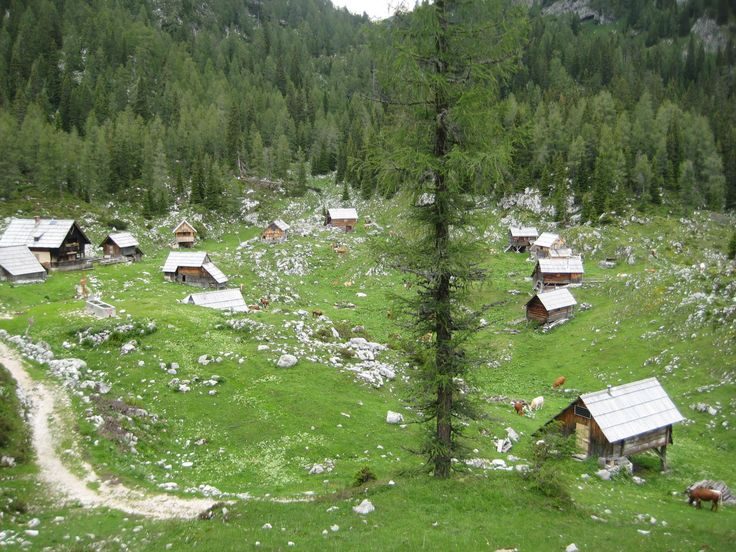 Old village on top of a mountain where sheep herders live during the Summer