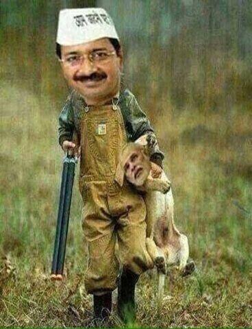 WhatsApp Text | Jokes | SMS | Hindi | Indian: Arvind kejriwal vs Narendra Modi funny photo after delhi election