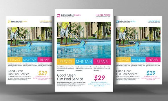 Swimming Pool Cleaning Service Flyer by Business Templates on @creativemarket