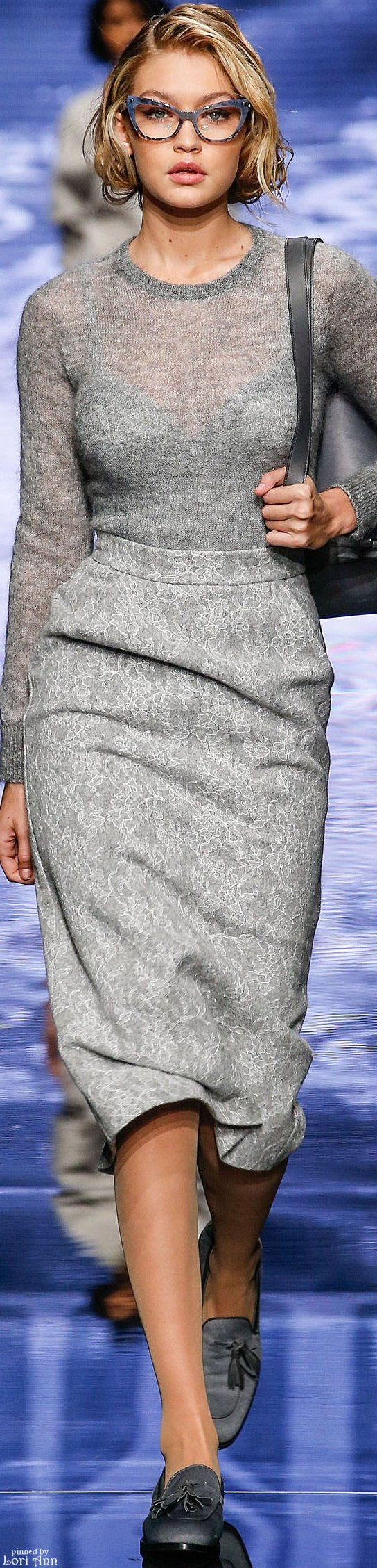 Max Mara.           Fall 2015.          Ready-To-Wear.        I Love The Glasses! And the hair cut.