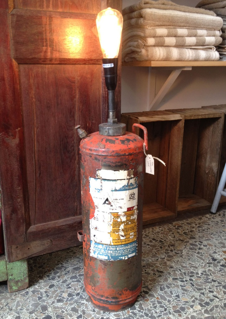 Vintage Reclaimed Fire Extinguisher Lamp