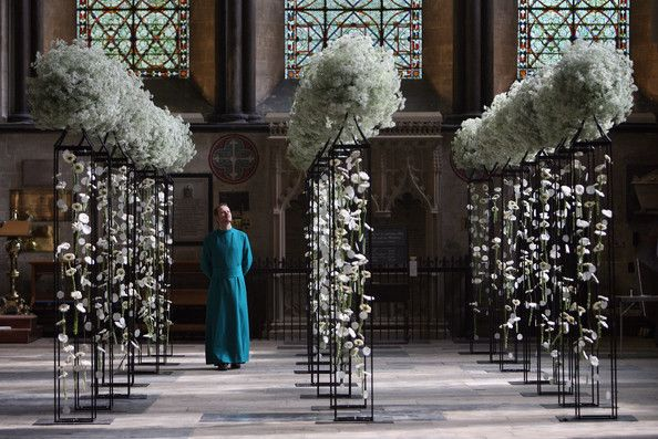 floral display completed by the 550 flower arrangers from dioceses and churches all over Wiltshire and Dorset inside Salisbury Cathedral as part of a five-day flower festival to mark its 750th