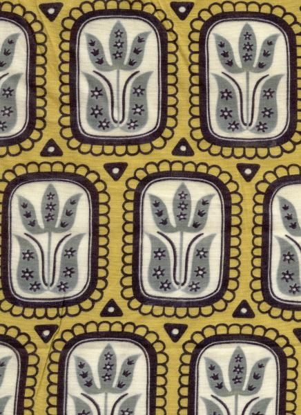 vintage, Finnish, Finlayson fabric, 1953, 1950s, fashion, repeat, pattern, folk art, print, printmaking