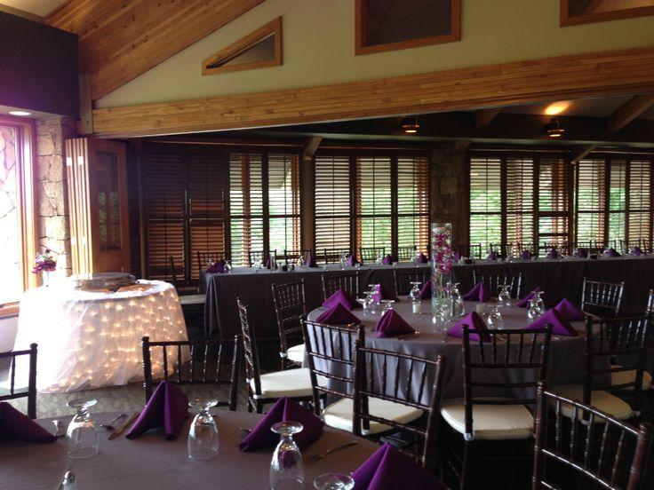 Alvamar Country Club Lawrence Ks Wedding Reception Grey And Plum Linens