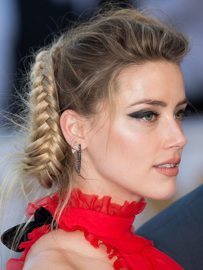Amber Heard's crazy-cool fishtail braid