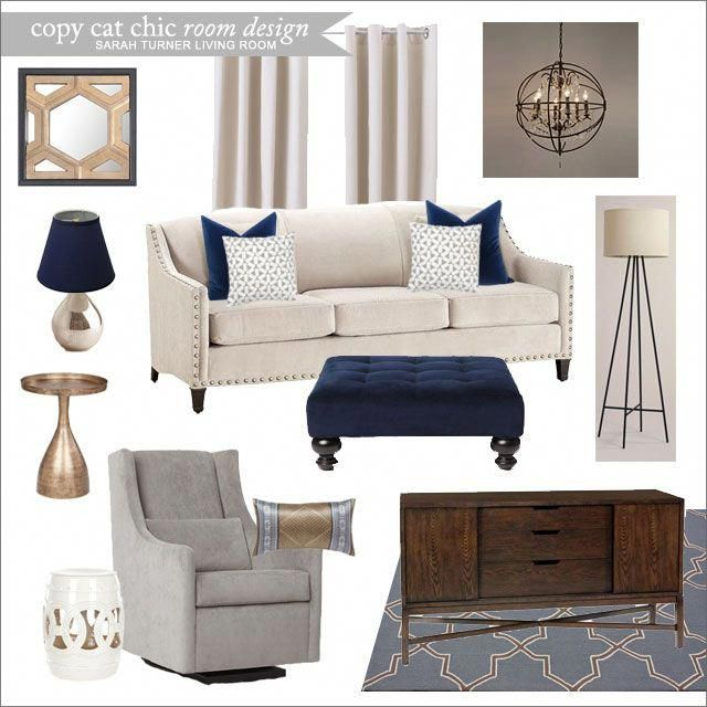 A Sleek Living Room With Navy Blue Accents For 3 392 Sarah Turner Blueandbrownlivingroom With Images Blue Living Room Gold Living Room Brown Living Room