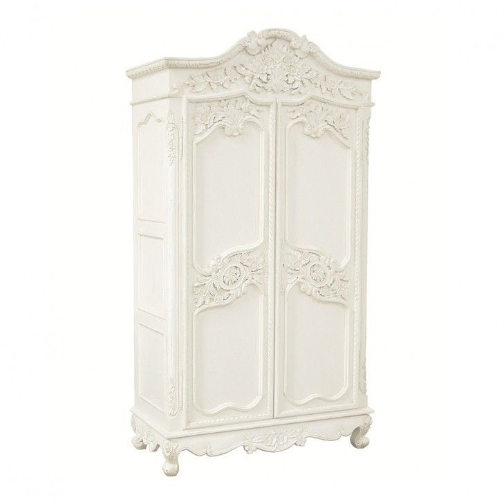 Provencal Carved White French Armoire