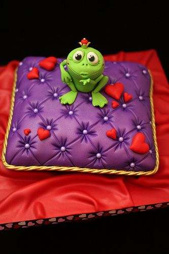 Froggy Prince pillow cake - For all your cake decorating supplies, please visit craftcompany.co.uk