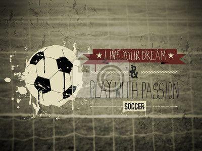 Sticker Voetbal typografie citaat