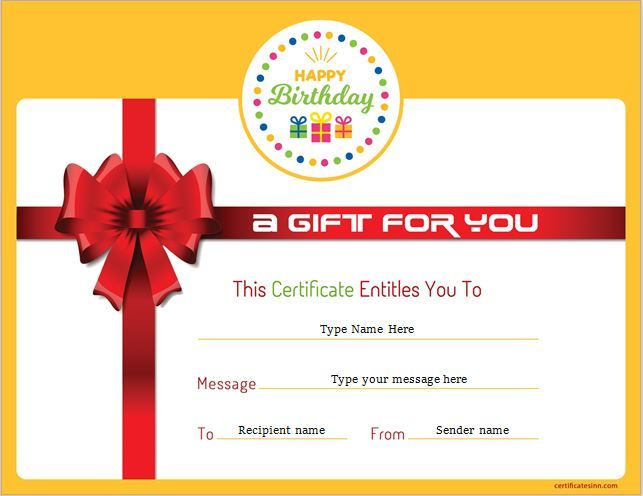 Birthday Gift Certificate for MS Word DOWNLOAD at http://certificatesinn.com/birthday-gift-certificates/