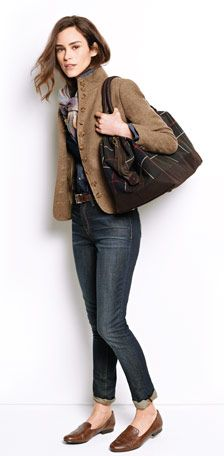 Donegal Tweed Stand-Collar Jacket, Tradewinds Snap-Front Jean Shirt in dark indigo, Slim 5-Pocket Jeans, Tooled-Edge Leather Belt, Men's Suede Hat, Barbour Lochy Explorer Bag