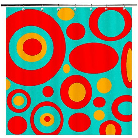 Mod Geometric  Funky Shower Curtain Turquoise by crashpaddesigns, $86.00