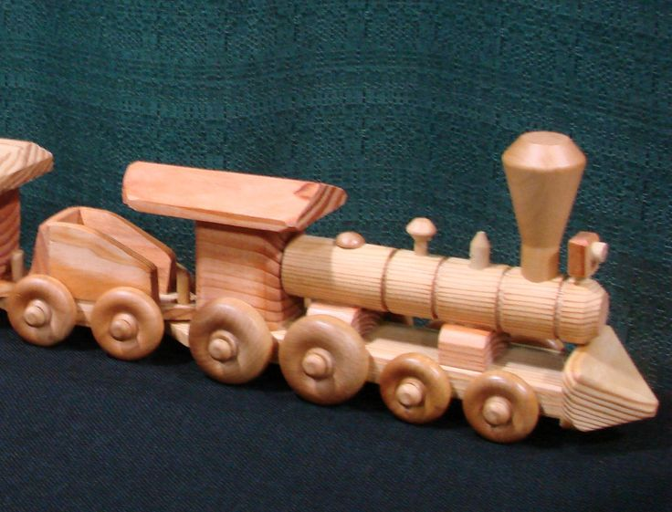 Wooden Toy Train Set, 5 piece, Hand made. $35.00, via Etsy.
