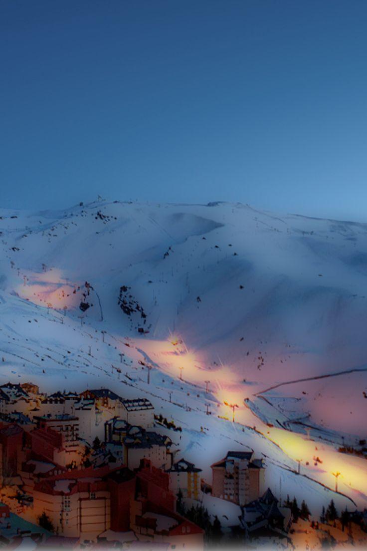 The Olympic ski slope on the Sierra Nevada near Granada Spain just under an hour from Velez de Benaudalla www.secretspain.com