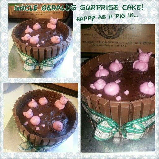 Simple devils food cake with edible pigs, my uncle loved!!
