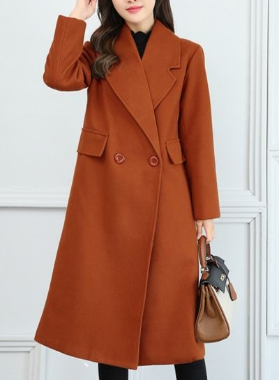 Collect Waist Slim Fit Solid Color Wool Coat