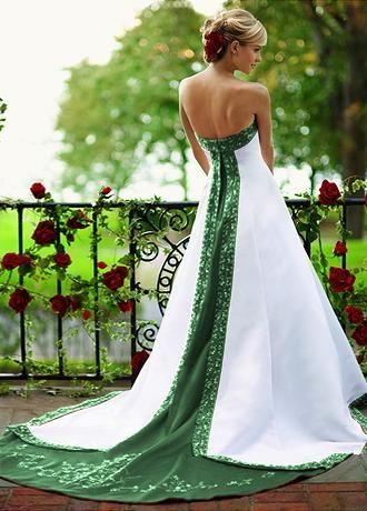 Green and white wedding dresses