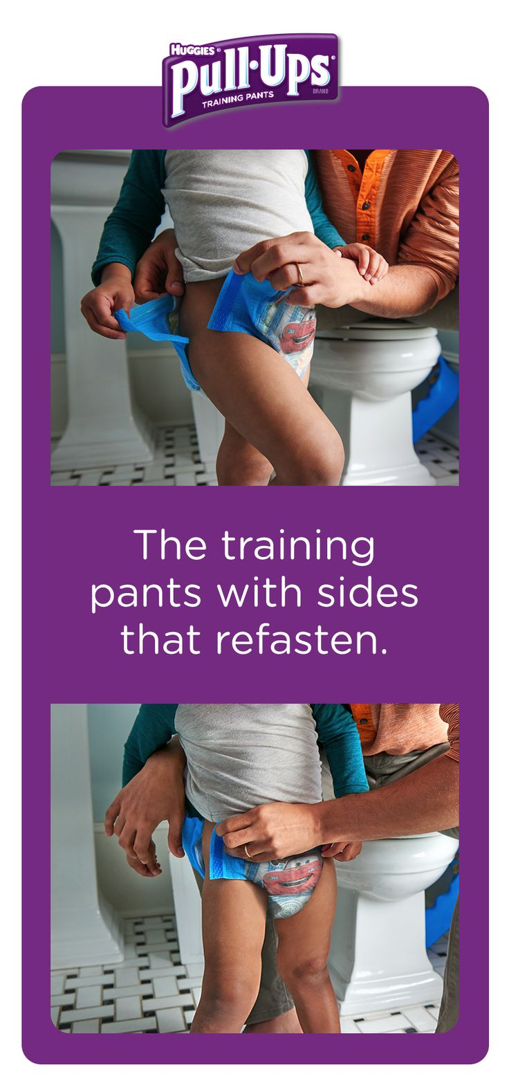 Potty training together is easier with Pull-Ups. That's because our Easy Open Sides are designed for quick and easy changes with sides that refasten.