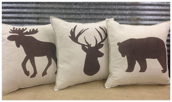 Decorative Pillow set with a Bear, Deer, & Moose silhouette. COMPLETE pillow set.