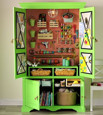 Old TV Armoire Turned Craft Storage Cabinet. Vanessa Tsumura For Country  Woman Magazine.