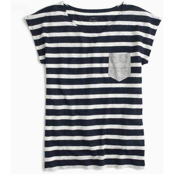 J.Crew Linen Striped Pocket T-Shirt ($54) ❤ liked on Polyvore featuring tops, t-shirts, cap sleeve t shirt, striped top, loose tee, striped t shirt and j crew tee