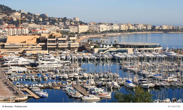 Marina with the Promenade de la Croisette, Cannes, France - Cannes is a port town on the French Riviera best known for its film festival. Walk along La Croisette and enjoy the view of all the seafront hotels, glamorous yachts, beaches and designer boutiques.