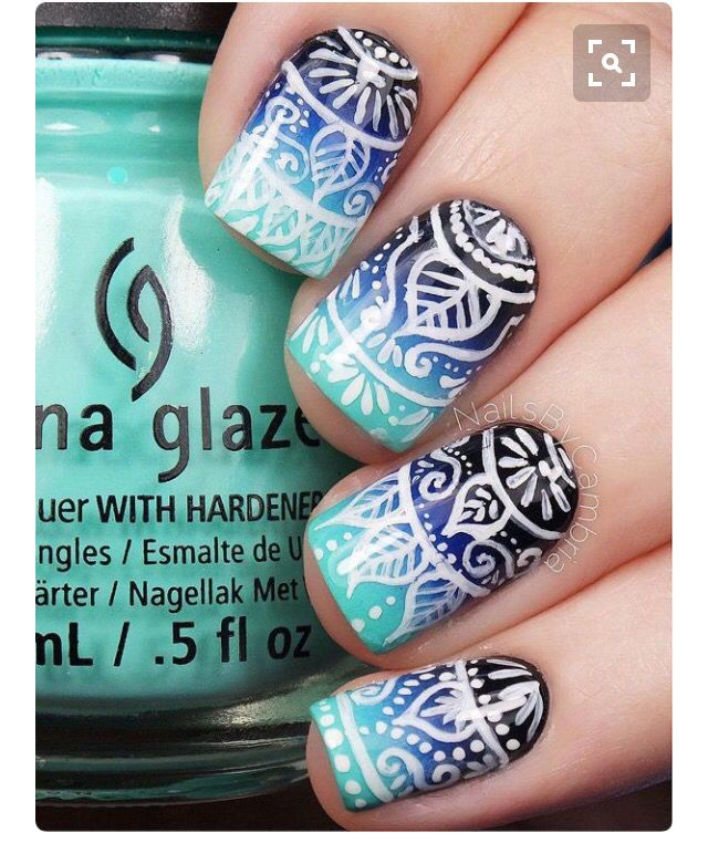 White stamp on ombre