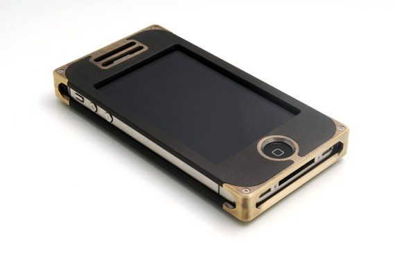 EXO15 iPhone 4S Case in Solid Brass and Black by EXOvault on Etsy, $175.00 Check out the handsome lines in our newest case design! High quality solid brass accents define the styling of our new durable and weather resistant composite case. This case will turn heads!     As always, handmade in Brooklyn, New York!
