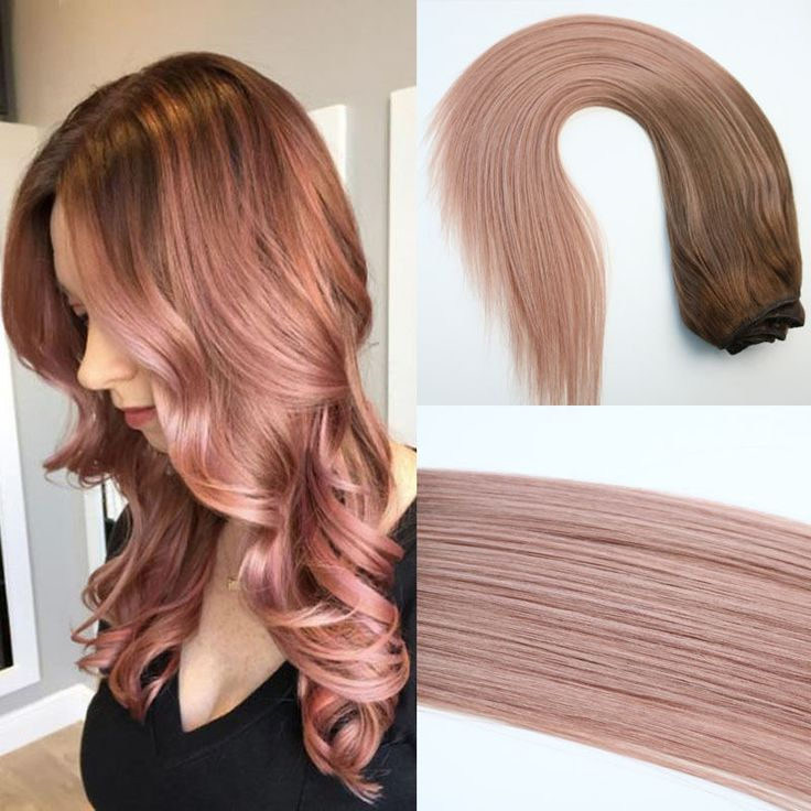New Rose Gold Ombre Clip in Human Hair Extension Brazilian Hair Extension 7pcs #Unbranded #StraightBundle