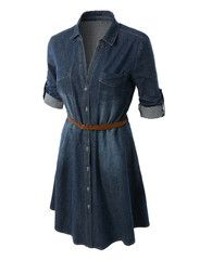 LE3NO Womens Classic Long Sleeve Button Down Chambray Denim Dress | LE3NO