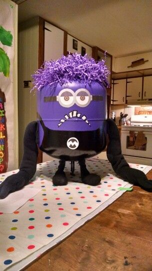 Evil minion made from an empty helium tank...my grandson wanted a purple minion at his 5th birthday party...it was a hit!!