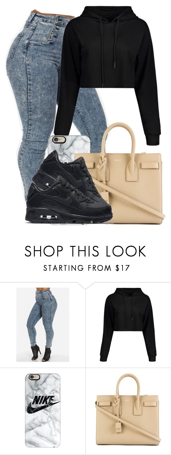 """""""Nike Noir"""" by danimack03 ❤ liked on Polyvore featuring Casetify, Yves Saint Laurent and NIKE"""