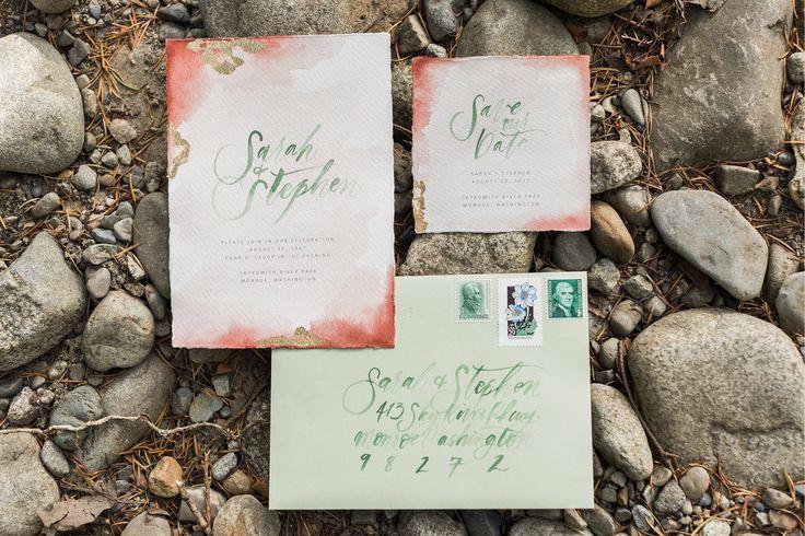 Boho Inspo Watercolor Wedding Invitation Suite    Rock and Stone Weddings    Joanna Monger Photography