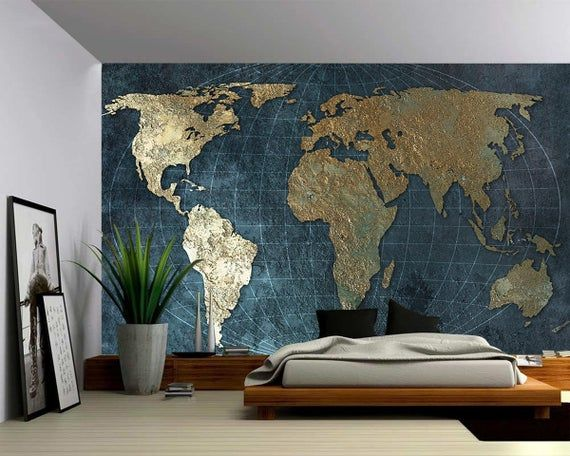 Teal Silver Globe World Map Large Wall Mural Self Adhesive Etsy World Map Mural Large Wall Murals Map Murals