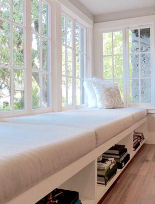 Sunbrella Fabric, Sunbrella Cushion, Window Seat reading room custom cut and upholstered cushions from (natural latex foam): http://www.foamorder.com/upholstery-foam.html