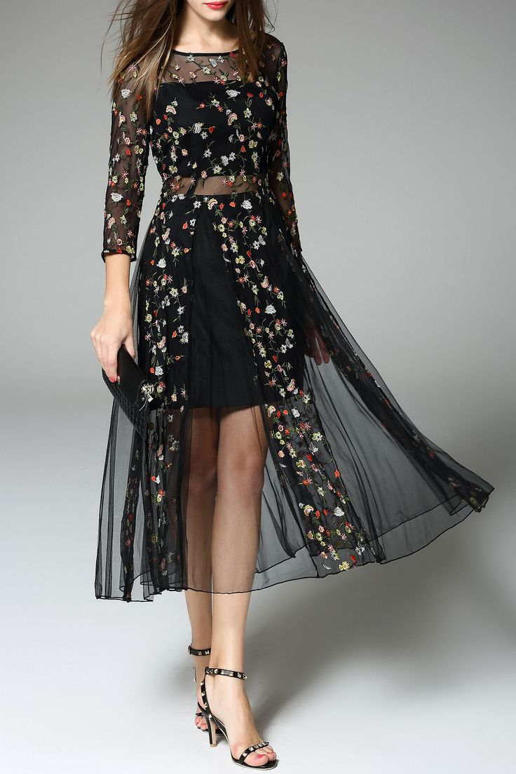 Daianxi Black Sheer Tiny Flower Embroidered Dress | Midi Dresses at DEZZAL