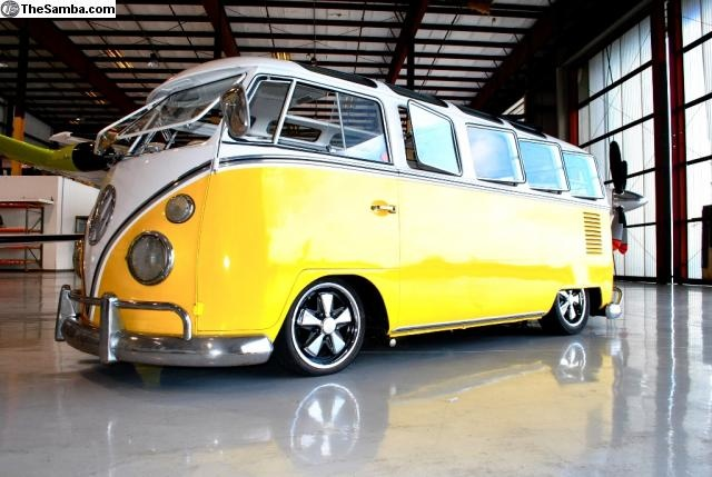 yellow and white vw bus lowered slammed Brought to you by Eugene #CarInsurance and #HouseofIns.