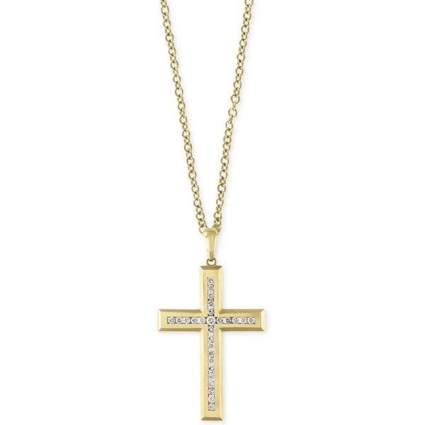 D'Oro by Effy Men's Diamond Cross Pendant Necklace (1 ct. t.w.) in 14k... ($2,400) ❤ liked on Polyvore featuring men's fashion, men's jewelry, men's necklaces, yellow gold, mens diamond necklace, mens chain link necklace, mens pendant necklace, mens gold crucifix necklace and mens necklaces