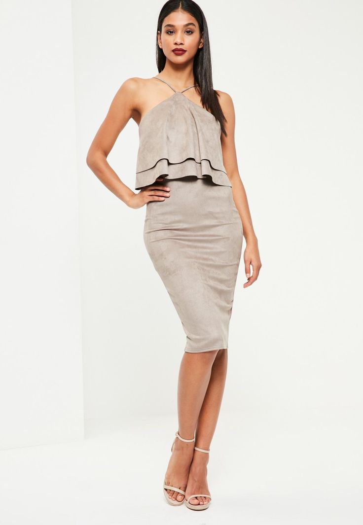 Missguided - Grey Faux Suede Frill Midi Dress