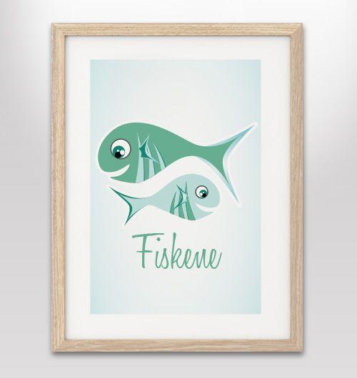 """Plakat med stjernetegn """"fiskene"""" - FLERE FARVER/VARIANTER"""
