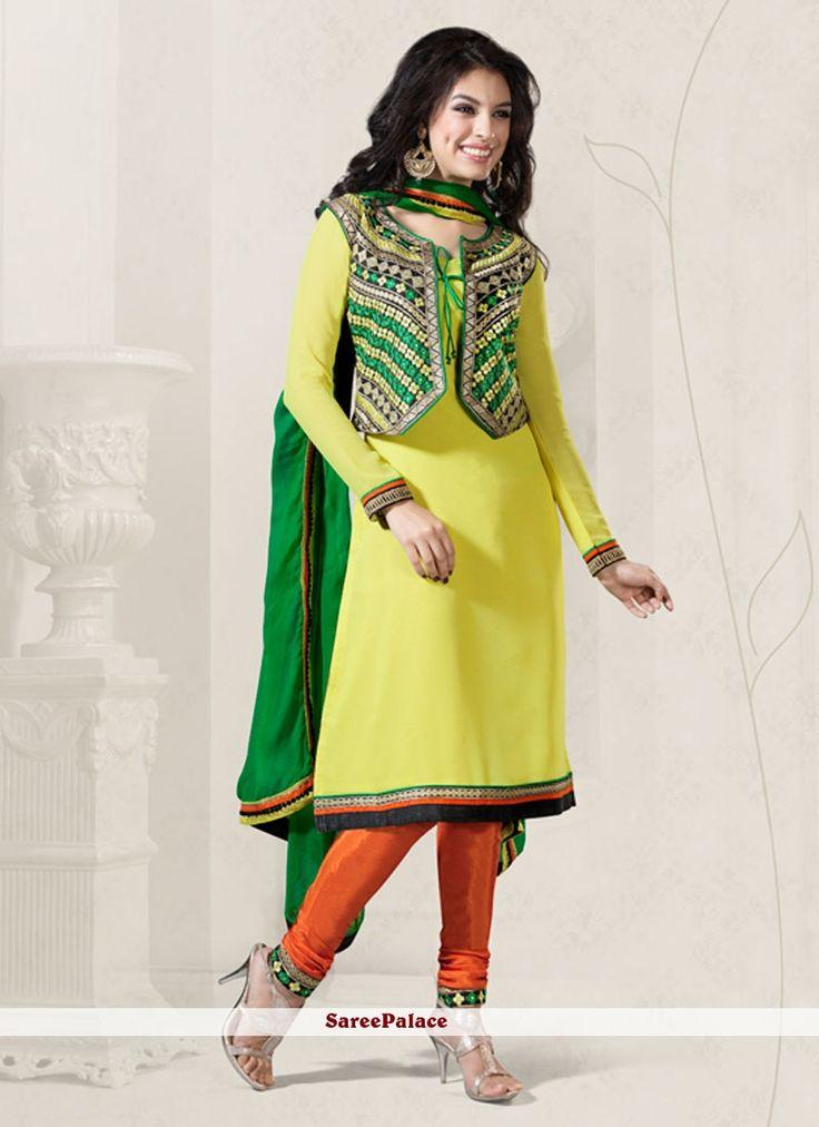 lemon-yellow-jacket-style-georgette-churidar-suit-800x1100.jpg (800×1100)