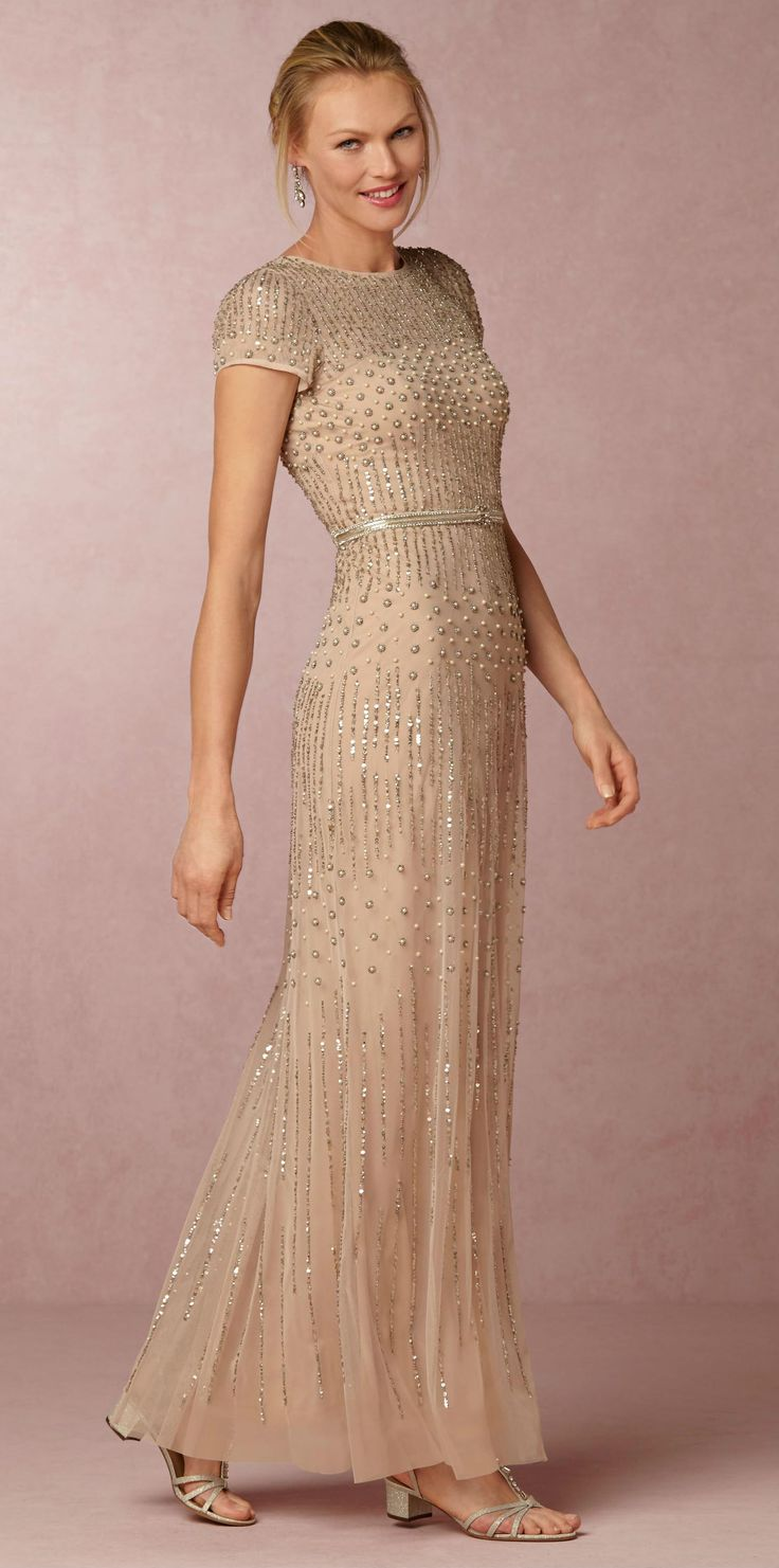 Gold beaded Mother-of-the-Bride or Mother-of-the-Groom gown | Berkley Dress | New from @BHLDN