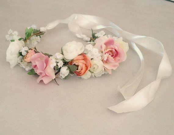 Pfirsich Pink Bridal Flower Crown Hochzeit Haar von AmoreBride, $53.00